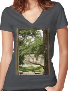 a large Cambodia landscape Women's Fitted V-Neck T-Shirt
