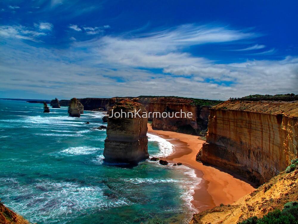 High Sandstone Cliffs - overlooking ocean by JohnKarmouche