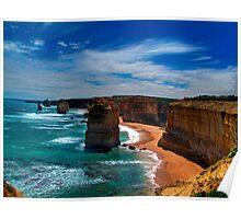 High Sandstone Cliffs - overlooking ocean Poster