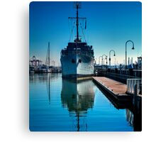 WW2 Minesweeper at anchor Canvas Print
