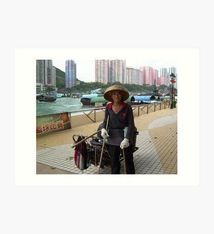 Street cleaner, Aberdeen Hong Kong Art Print