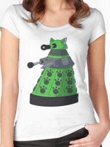 Green Kitty Dalek Women's Fitted Scoop T-Shirt