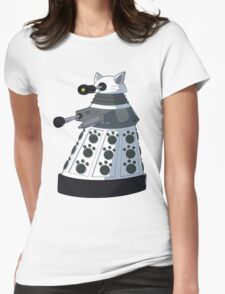 White Kitty Dalek Womens Fitted T-Shirt