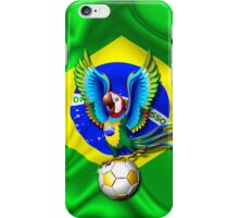 Brazil Macaw Parrot Cartoon with Soccer Ball iPhone Case/Skin