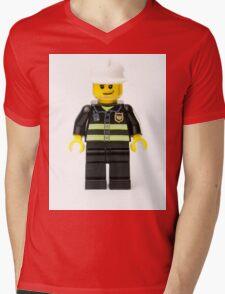 Fireman Minifig Mens V-Neck T-Shirt