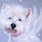 Winter Angel ( Westie) by Elena Kolotusha