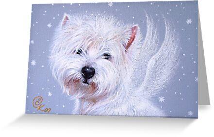 Winter Angel ( Westie) by Elena Kolotusha
