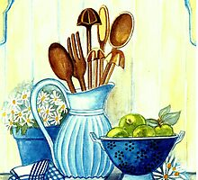 KITCHEN STILL LIFE IN COUNTRY STYLE - WITH DAISIES AND APPLES by RubaiDesign