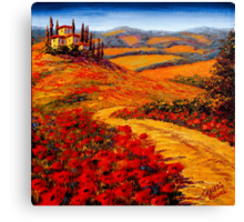 Tuscany Spring Road to the Villa Canvas Print