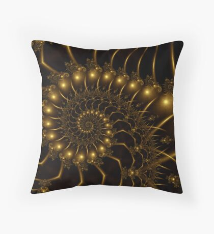 Golden Wire Spirals Throw Pillow