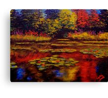 Flowers and Trees on Monet's Pond Canvas Print