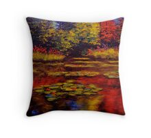 Flowers and Trees on Monet's Pond Throw Pillow