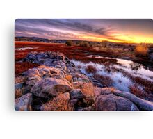 Willow Lake Rock Wall Sunset 1 Canvas Print