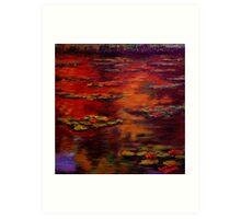 Red Lily Pond Art Print