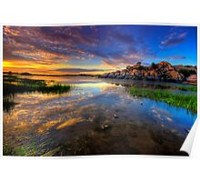 Willow Lake Spring Sunset Poster