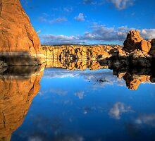 Watson Lake Sky/Rock reflect by Bob Larson