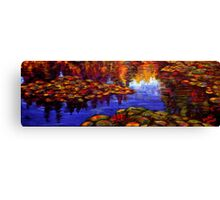 Red Lilies on Monet's Pond Canvas Print