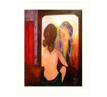 Woman in the mirror Art Print
