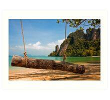 Tropical Beach Swing Art Print