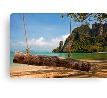 Tropical Beach Swing Canvas Print