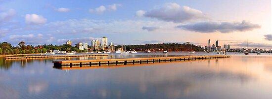 Matilda Bay Jetties At Dawn  by EOS20