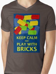 KEEP CALM AND PLAY WITH BRICKS Mens V-Neck T-Shirt