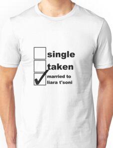 Single, Taken, Married to Liara T'Soni Unisex T-Shirt