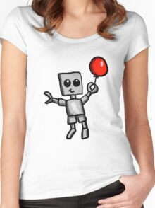 Robot and Balloon  Women's Fitted Scoop T-Shirt