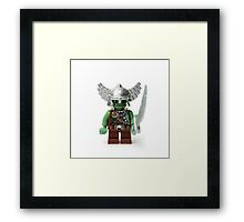 Boring old green angry short man Minifig with a sword Framed Print