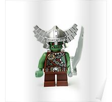 Boring old green angry short man Minifig with a sword Poster