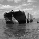 Rusty Boat - Black & White by Danny  Thrussell