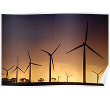 Wind Mills at Sunset Poster