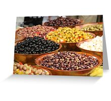 Market Series - A bounty of olives Greeting Card