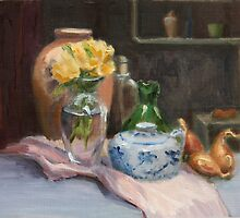 Yellow Flowers and Chinese Jar by Inna Lazarev
