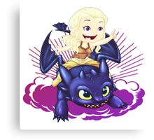 Elsa and Toothless Train Dragon Canvas Print