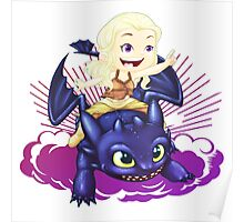 Elsa and Toothless Train Dragon Poster