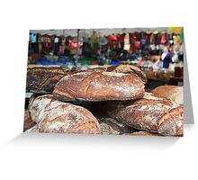 Market Series - Crustry bread with colourful backdrop Greeting Card