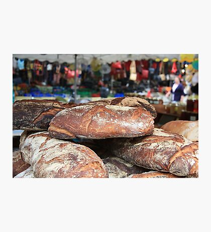 Market Series - Crustry bread with colourful backdrop Photographic Print