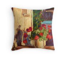 Pot of Geraniums - Burgundy Throw Pillow