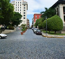 Cobblestone Street in Old San Juan by Yvonne Mason