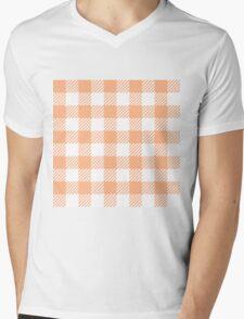 Peach Gingham Mens V-Neck T-Shirt