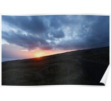 Sunset behind Maui Poster