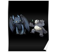 Toothless and Pokemon Poster