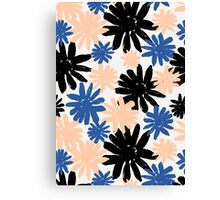 Pink, Blue and Black Floral Pattern Canvas Print