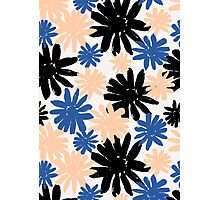 Pink, Blue and Black Floral Pattern Photographic Print