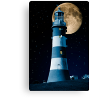 Moonlight Becomes You: Plymouth Hoe Lighthouse Canvas Print