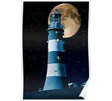 Moonlight Becomes You: Plymouth Hoe Lighthouse Poster