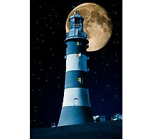 Moonlight Becomes You: Plymouth Hoe Lighthouse Photographic Print