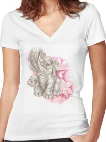 Blue eyes elephant, don´t forget me Women's Fitted V-Neck T-Shirt