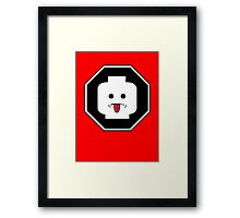 RUDE MINIFIG HEAD ROADSIGN Framed Print
